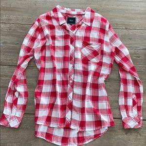 Rails red/white button down shirt